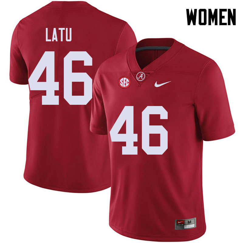 Women #46 Cameron Latu Alabama Crimson Tide College Football Jerseys Sale-Red